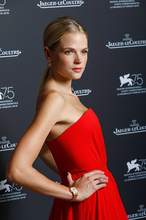 Gabriella Wilde wearing JLC Rendez-Vous Night & Day Tribute to Cinema