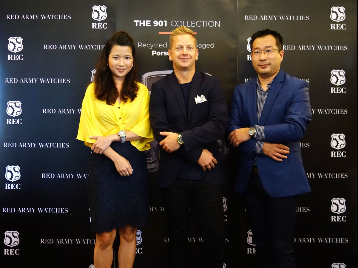 L-R: Julianna Chai (managing director, Red Army Watches, Thomas Dusinius Kronevald, chief sales officer of REC Watches, and Soemantri Kusumadi, executive director of Red Army Watches